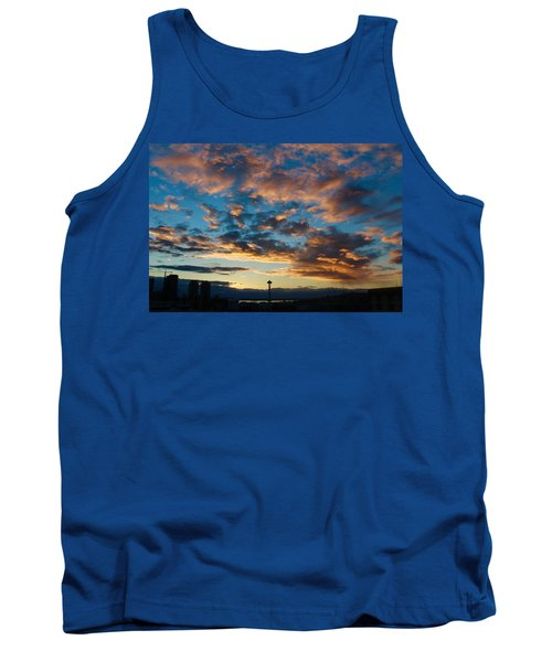 Space Needle In Clouds Tank Top