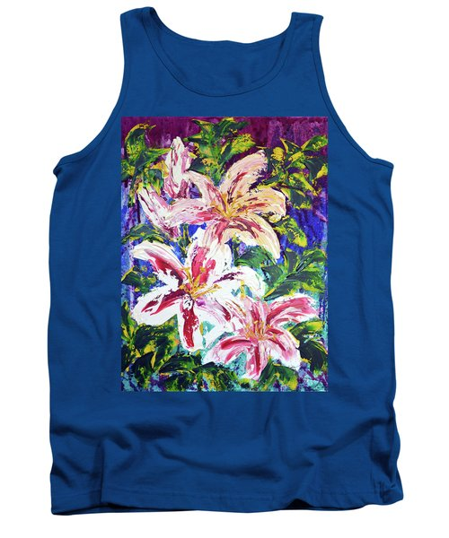 Tropical Flowers Tank Top by Lynda Cookson
