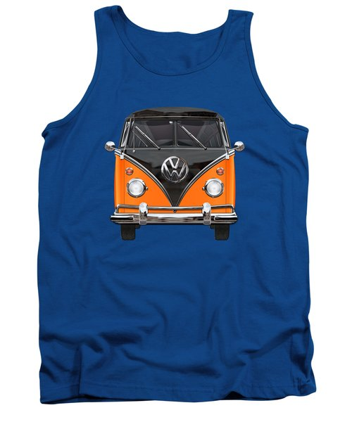 Volkswagen Type 2 - Black And Orange Volkswagen T 1 Samba Bus Over Blue Tank Top by Serge Averbukh