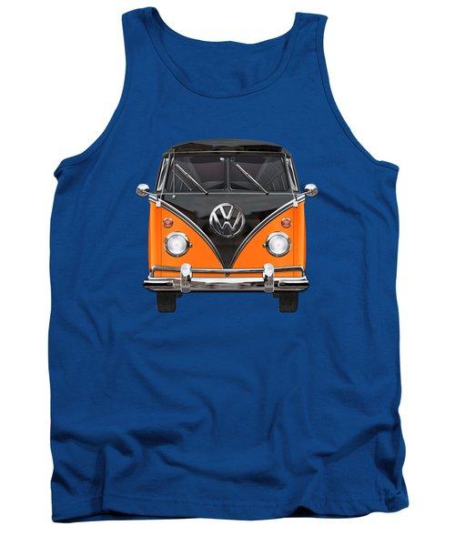 Volkswagen Type 2 - Black And Orange Volkswagen T 1 Samba Bus Over Blue Tank Top