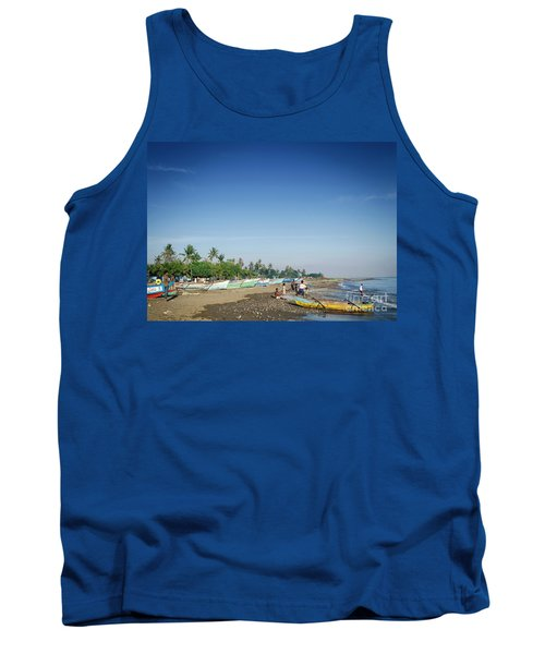 Traditional Fishing Boats On Dili Beach In East Timor Leste Tank Top