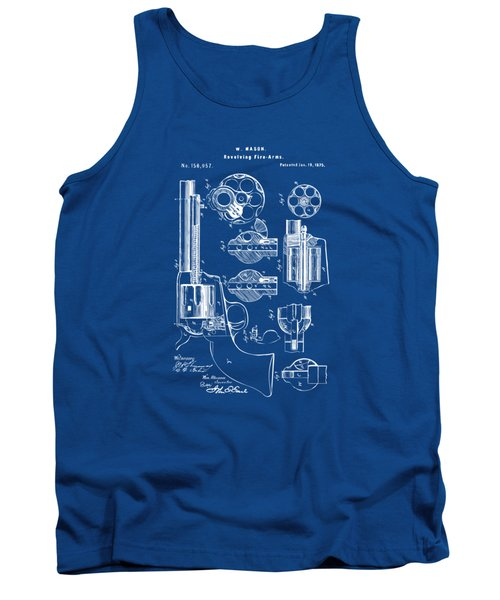 Tank Top featuring the drawing 1875 Colt Peacemaker Revolver Patent Blueprint by Nikki Marie Smith