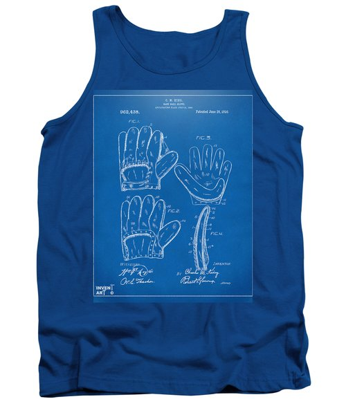 1910 Baseball Glove Patent Artwork Blueprint Tank Top by Nikki Marie Smith