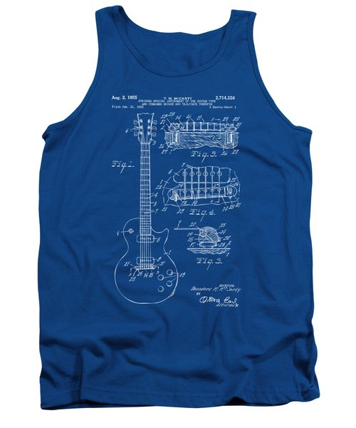 Tank Top featuring the drawing 1955 Mccarty Gibson Les Paul Guitar Patent Artwork Blueprint by Nikki Marie Smith