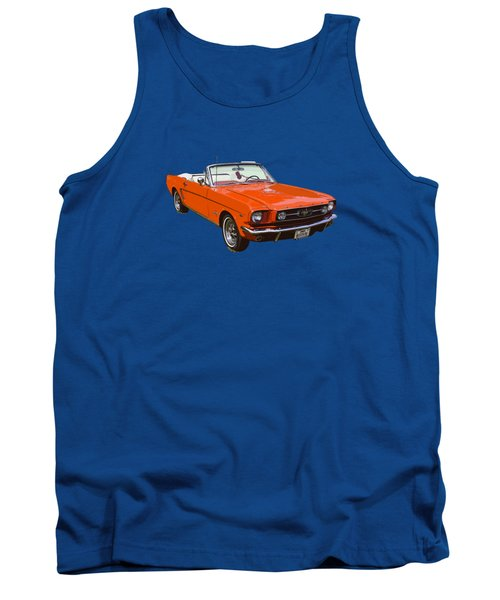 1965 Red Convertible Ford Mustang - Classic Car Tank Top by Keith Webber Jr