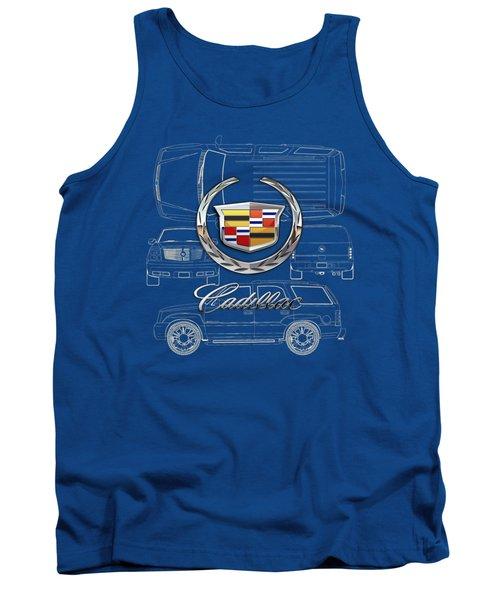 Cadillac 3 D Badge Over Cadillac Escalade Blueprint  Tank Top
