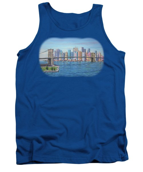 New York Brooklyn Bridge Tank Top by Renato Maltasic