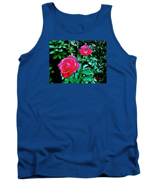 Tank Top featuring the photograph 2 Red Roses by Sadie Reneau