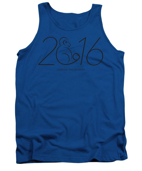 2016 Year Of The Monkey Numerals Line Art Tank Top by Jit Lim