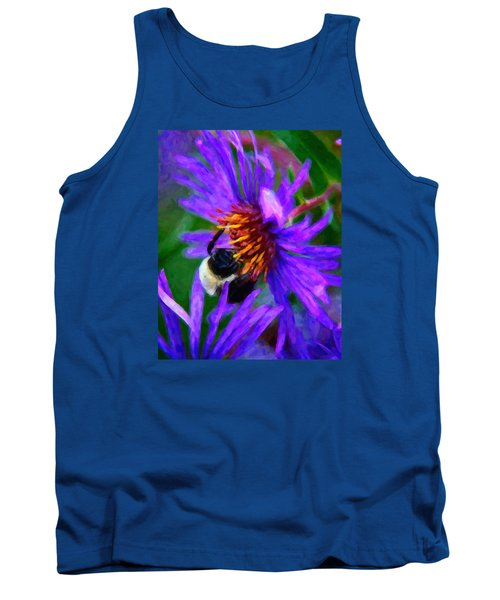 Bee On Purple Flower Tank Top by Andre Faubert