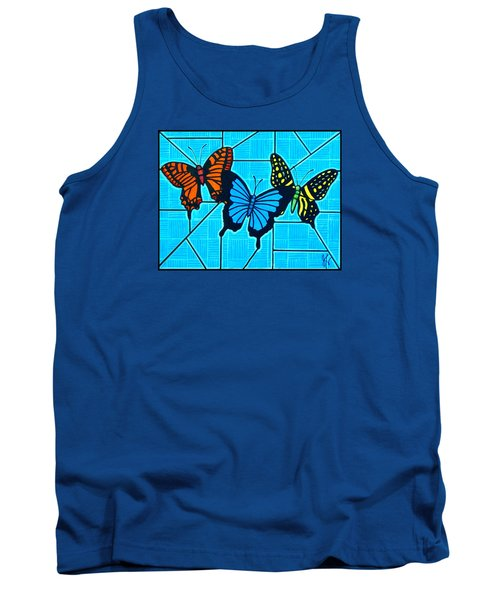 3  Butterflies On Blue Tank Top