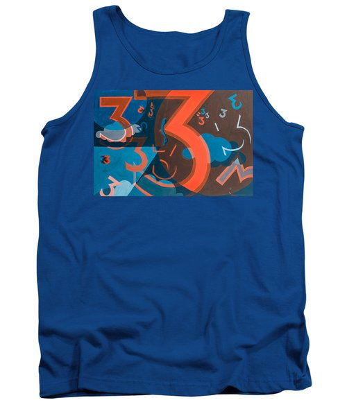 3 In Blue And Orange Tank Top