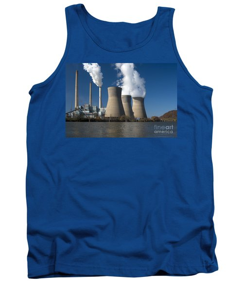 Three Cooling Towers At A Power Plant. Tank Top