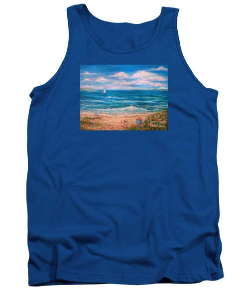 Tank Top featuring the painting A Walk In The Sand by Dee Davis