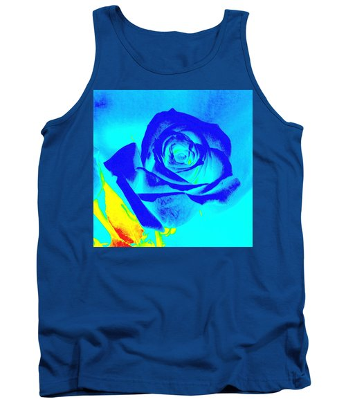 Single Blue Rose Abstract Tank Top