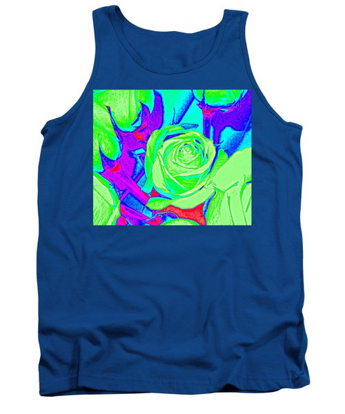 Abstract Green Roses Tank Top