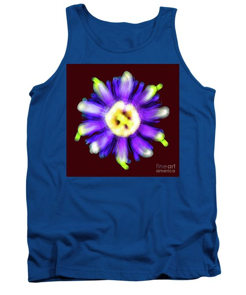 Abstract Passion Flower In Violet Blue And Green 002r Tank Top
