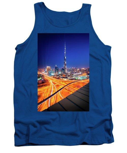 Amazing Night Dubai Downtown Skyline, Dubai, United Arab Emirates Tank Top