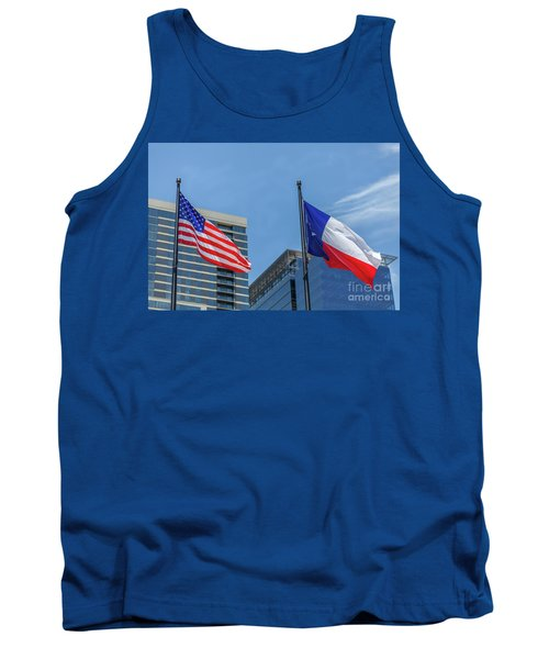 American And Texas Flag On Top Of The Pole Tank Top