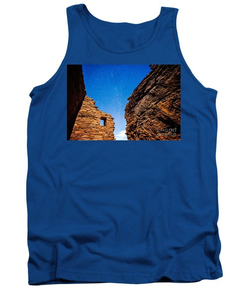 Ancient Native American Pueblo Ruins And Stars At Night Tank Top