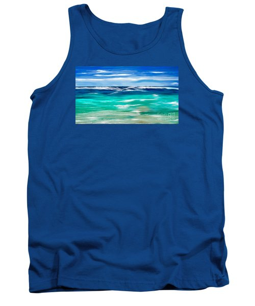 Tank Top featuring the digital art Aqua Waves by Anthony Fishburne