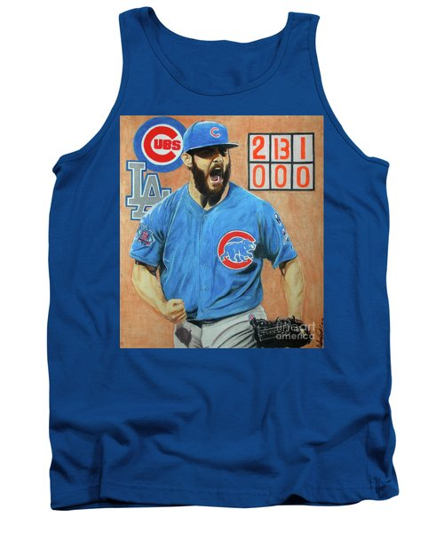 Tank Top featuring the drawing Arrieta No Hitter - Vol. 1 by Melissa Goodrich