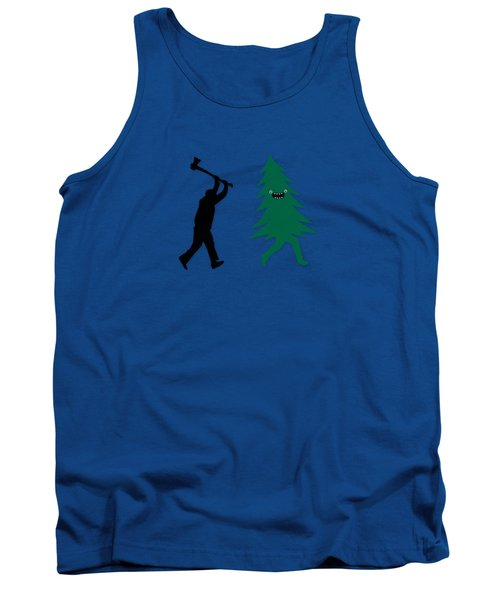 Funny Cartoon Christmas Tree Is Chased By Lumberjack Run Forrest Run Tank Top by Philipp Rietz
