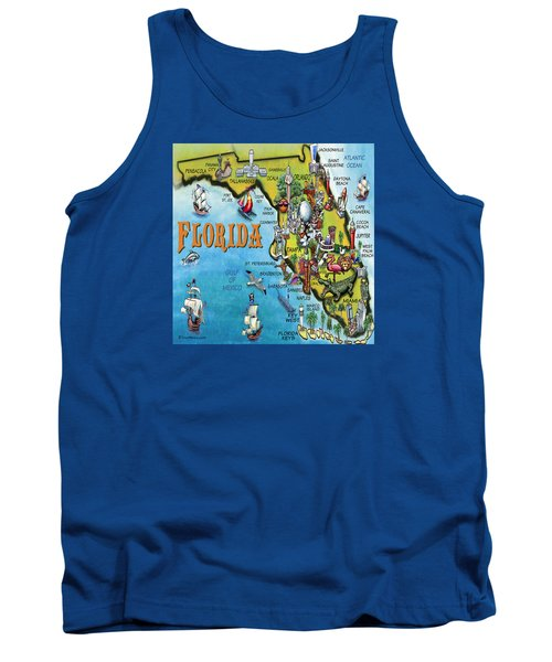 Tank Top featuring the digital art Florida Cartoon Map by Kevin Middleton