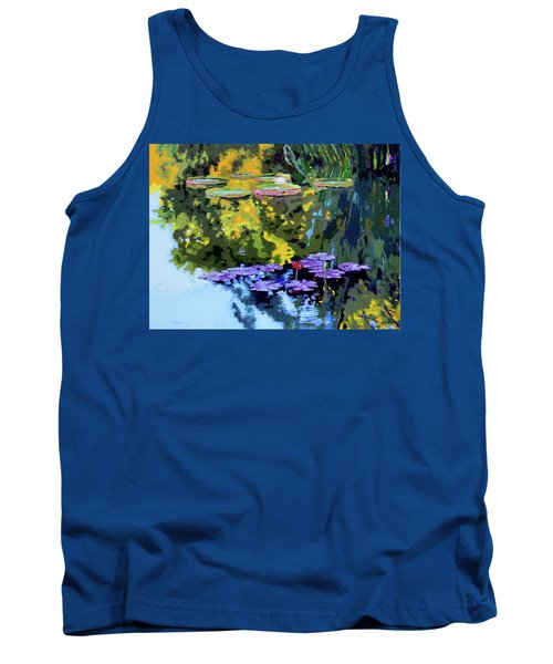 Autumn Reflections On The Pond Tank Top by John Lautermilch