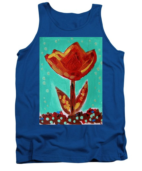 Tank Top featuring the painting Avis-flowers From The Flower Patch by Mary Carol Williams