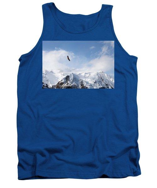 Bald Eagle Over Mountains Tank Top