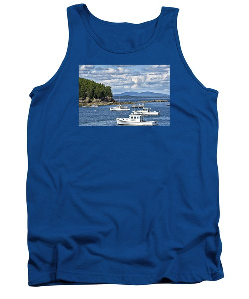 Bar Harbor Lobster Boats - Frenchman Bay Tank Top by Brendan Reals