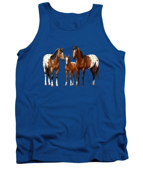 Bay Appaloosa Horses In Winter Pasture Tank Top