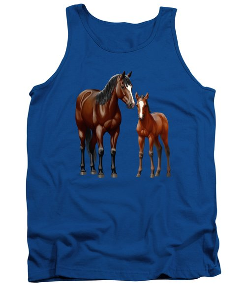 Bay Mare And Foal In Winter Tank Top