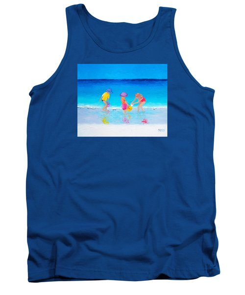 Beach Painting - Water Play  Tank Top by Jan Matson