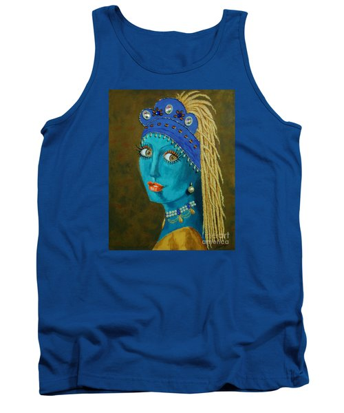 Belly Dancer With A Pearl Earring -- The Original -- Whimsical Redo Of Vermeer Painting Tank Top