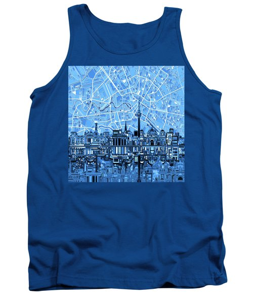 Berlin City Skyline Abstract Blue Tank Top by Bekim Art