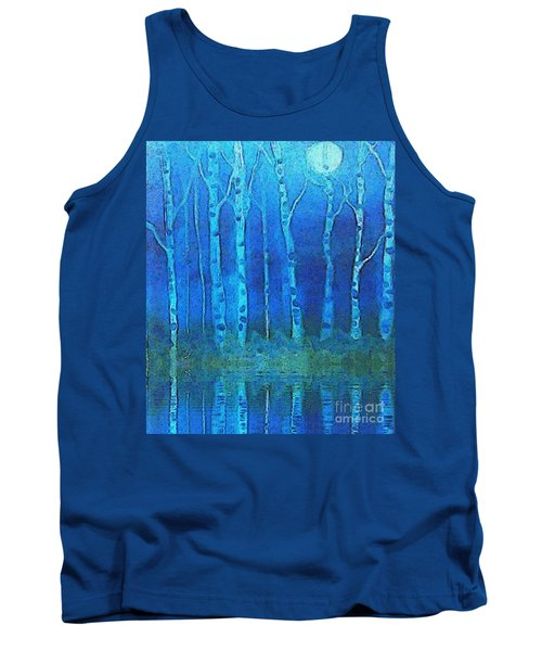 Tank Top featuring the painting Birches In Moonlight by Holly Martinson