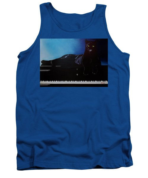 Black Panther And His Piano Tank Top by Manuel Sanchez
