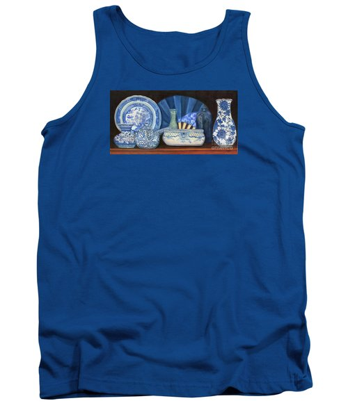 Blue And White Porcelain Ware Tank Top by Marlene Book