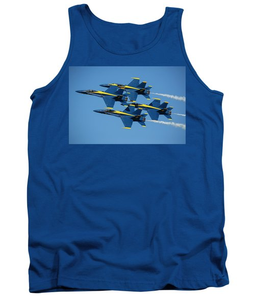 Tank Top featuring the photograph Blue Angels Diamond Formation by Adam Romanowicz