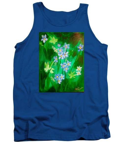 Blue Crocus Flowers Tank Top