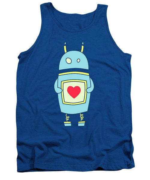 Blue Cute Clumsy Robot With Heart Tank Top