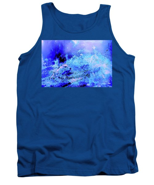 Blue Digital Artwork With Dots And Stripes And Sandstone Finish Tank Top
