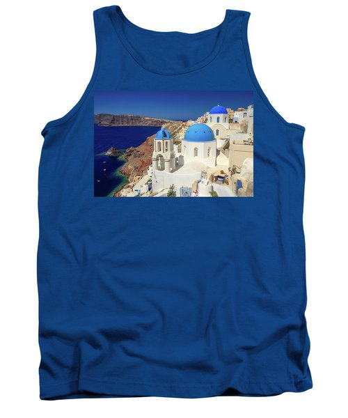 Blue Domed Churches Tank Top by Emmanuel Panagiotakis