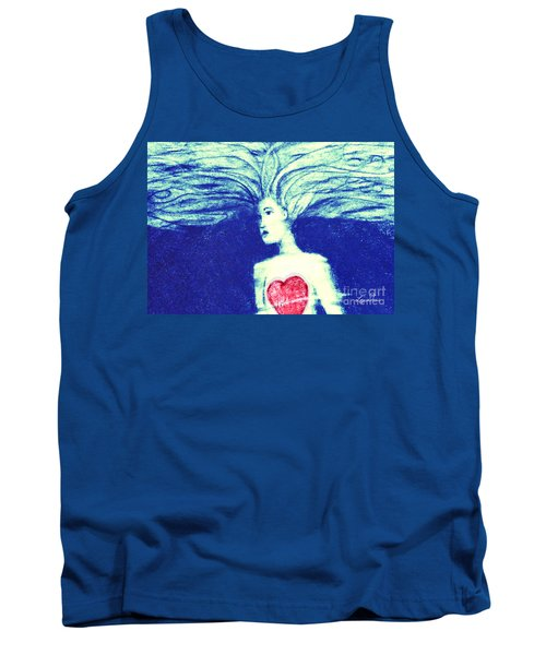 Blue Floating Heart Tank Top