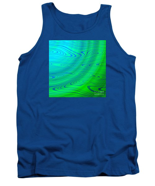 Blue Green Distort Abstract Tank Top