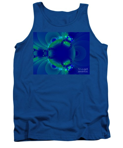 Blue Green Globe Luminant Fractal Tank Top