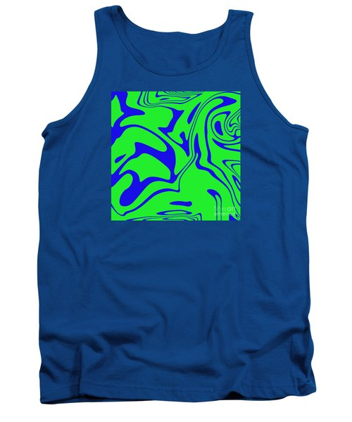 Blue Green Retro Abstract Tank Top