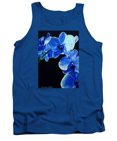 Blue Orchid - Electric-blue Phalaenopsis Tank Top by Anita Putman